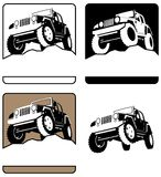 Off-Road Logo. 4 off-road logos. You can place the title of the company or organization below the vehicle Stock Image