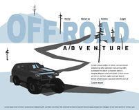 Off-road logo Image. Off-road car banner. Off-roading SUV adventure, extreme competition leaflet and car club advertising. Beautiful vector illustration in light stock illustration