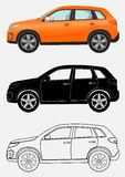 Off-road luxury vehicle in three different styles: orange, black silhouette, contour. Royalty Free Stock Images
