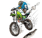 Offroad. Off-road motocross or enduro driver in action Royalty Free Stock Photos