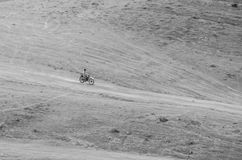 Off the road. Motorcycle in an offroad path Royalty Free Stock Photography