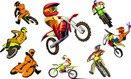 Off road Motorcycle, vector set Stock Photo