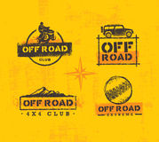 Off Road Park ATV Creative Vector Sign Set. Extreme Adventure Design Element On Grunge Wall Background.  Royalty Free Illustration
