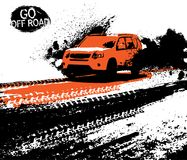 Off-Road Poster Image. Off-road adventure poster. Vector illustration in modern style with textured grunge background. Landscape layout in black, orange and vector illustration