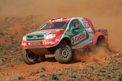 Off road racing. Duncan Vos and Rob Howie in their Toyota Hilux in action during a South African off road championship event, Bloemfontein, South Africa, 15 Stock Photo