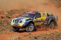 Off road racing. George Smalberger and Terence March in their Nissan Navara in action during a South African off road championship event, Bloemfontein, South Royalty Free Stock Photo