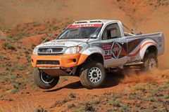 Off road racing. Jannie Visser and Joks le Roux in their Toyota Hilux in action during a South African off road championship event, Bloemfontein, South Africa Stock Photography