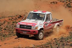 Off road racing. Johan and Werner Horn in their Toyota Land Cruiser in action during a South African off road championship event, Bloemfontein, South Africa, 15 Royalty Free Stock Photo