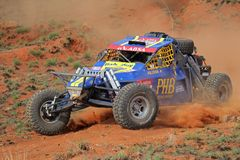 Off road racing. Marius and Jolinda Fourie in their BAT in action during a South African off road championship event, Bloemfontein, South Africa, 15 October 2011 Stock Photos