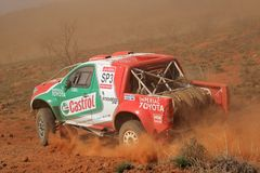 Off road racing. Duncan Vos and Rob Howie in their Toyota Hilux in action during a South African off road championship event, Bloemfontein, South Africa, 15 Royalty Free Stock Image