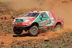 Off road racing. Duncan Vos and Rob Howie in their Toyota Hilux in action during a South African off road championship event, Bloemfontein, South Africa, 15 Stock Images