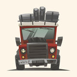 Off road red fully loaded lifted adventure car. Off road red fully loaded lifted adventure car with hoist, extra wheel and baggage. Front view. Vector Stock Images