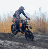 Off-road rider is jumping Stock Photography