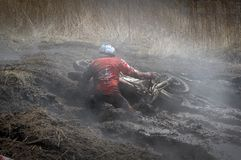 Off-road rider is jumping Royalty Free Stock Images
