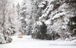 Off-road riding on winter forest road. Off-road riding on winter forest snowy road Royalty Free Stock Photo