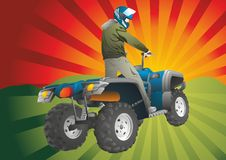 Off-road ruiter ATV die binnen aan de zonsondergang springen Stock Illustratie