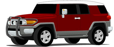 Off Road Suv. An illustration of an Japanese SUV isolated on white. Saved in labeled layers for easy editing stock illustration