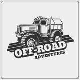 Off-road suv car emblem. Safari label. Vector Stock Image