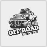 Off-road suv car emblem. Safari label. Vector Royalty Free Stock Photo