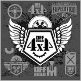 Off-road suv car emblems, badges and icons. Off-roading adventure club design elements. Royalty Free Stock Image