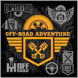 Off-road suv car emblems, badges and icons. Off-roading adventure club design elements. Stock Photography