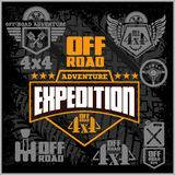 Off-road suv car emblems, badges and icons. Off-roading adventure club design elements. Stock Images