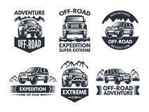Off road symbols. Labels with 4x4 truck. Logos or labels with suv cars. Automobile car logo, transport for travel emblem off-road. Vector illustration Royalty Free Stock Images