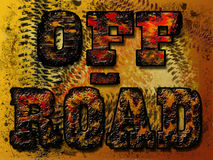 Off-Road. Textured wording on dirt brown background with tire tracks and mud Stock Image