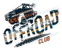 Off-Road Tire Lettering. Off-Road grunge tyre lettering. Stamp tire word made from unique letters. Vector illustration useful for poster, print, leaflet design stock illustration