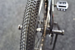 Off-road tires on mountain bicycle sports Stock Photo