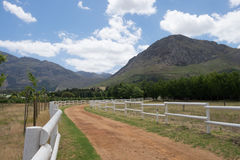 Off road track through the farm lands in Franschoek, South Africa Stock Photos