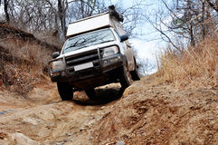 Off-Road Traveling in Zambia, Africa. Off-Road Driving in Rural, Mountainous Areas of Zambia, Africa Stock Photo