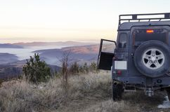 Off road trip Mountain Snow Dusk. Selective focus Royalty Free Stock Images