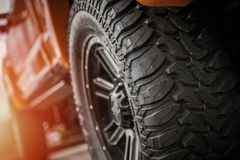 Off Road Truck Tires. Heavy Duty Professional Off Road Truck Tires and Vehicle Suspension Stock Image