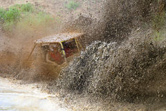 Off road vechile on the rally race Lijak 2015. Off road vechile in the mud on the 4x4 rally race Off Road Lijak 2016 at Vogrsko, Slovenia Royalty Free Stock Photos