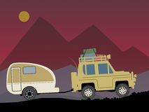 Off-road vehicle. With trailer, color illustration stock illustration