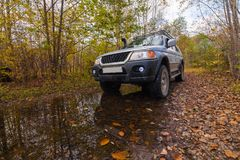 Off road vehicle in autumn forest Stock Images