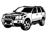 Off-road vehicle. Black and white off-road vehicle stock illustration
