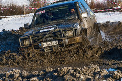 Off-road vehicle brand Toyota overcomes the track Royalty Free Stock Image