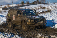 Off-road vehicle brand Toyota overcomes the track Stock Photos