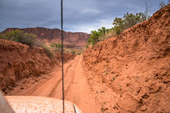 Off road vehicle in the canyon Stock Photos
