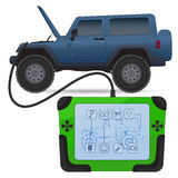 Off road vehicle diagnostics test service. Vector illustration  on white Stock Photos
