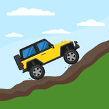 Off-road vehicle drives on a mountain against the sky. Extreme Sports - 4x4 Utility Vehicle SUV. Vector Illustration flat style for web design banner or print royalty free illustration