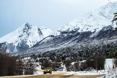 Off-road vehicle in a winter landscape near Ushuaia stock photography