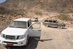 Off-road vehicle on the Jebel Shams mountains Oman stock images