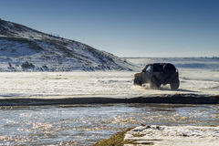 Off road vehicle. On snow Stock Photo