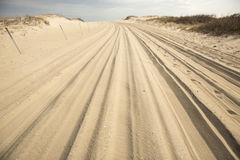 Off-road vehicle trail in the sand on Assateague Island, Marylan Royalty Free Stock Photography