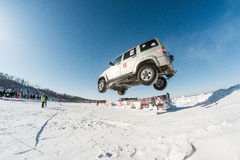 Off-road vehicles during the annual competitions in the jeep Royalty Free Stock Photography