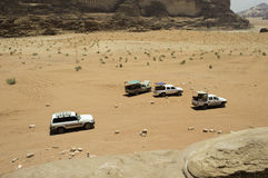 Off road vehicles in desert Royalty Free Stock Photography