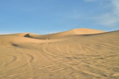Off road vehicle tracks in sand at Imperial Sand Dunes, California, USA Royalty Free Stock Image